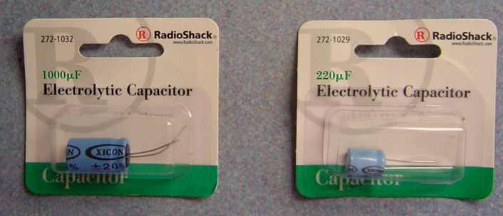 two electrolytic capacitors for John Bajak's flux cap